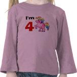 regalo del chica del cumpleaños de 4 años (potro d camiseta
