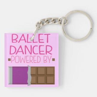 Regalo del chocolate del bailarín de ballet para llavero cuadrado acrílico a doble cara