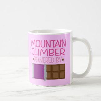 Regalo del chocolate del escalador de montaña para taza básica blanca
