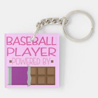 Regalo del chocolate del jugador de béisbol para llavero cuadrado acrílico a doble cara