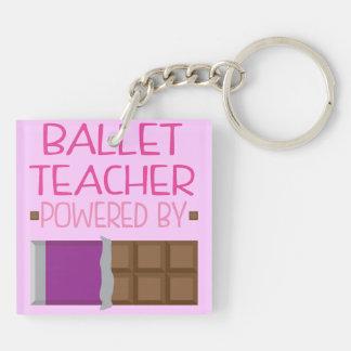 Regalo del chocolate del profesor del ballet para llavero cuadrado acrílico a doble cara