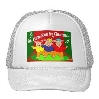 Regalo del cristiano de tres navidad de los cerdos gorros