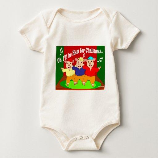 Regalo del cristiano de tres navidad de los cerdos mameluco de bebé