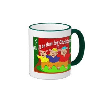 Regalo del cristiano de tres navidad de los cerdos taza