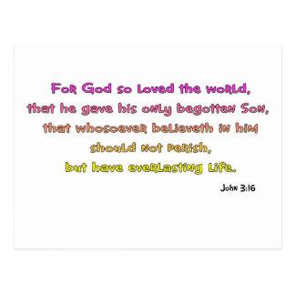 Regalo del cristiano del 3:16 de Juan Postal