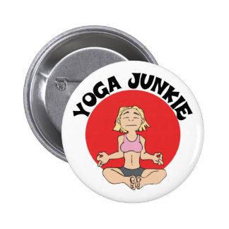 Regalo del drogadicto de la yoga pin redondo 5 cm