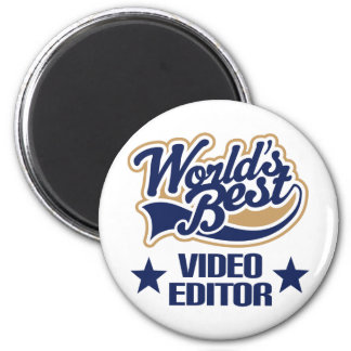 Regalo del editor de vídeo (mundos mejores) imán redondo 5 cm