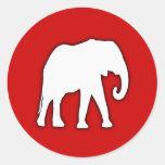 Regalo del elefante blanco pegatinas redondas