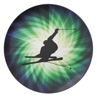 Regalo del esquí de la nieve platos de comidas