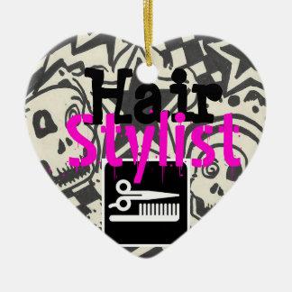 Regalo del estilista - ornamento adorno navideño de cerámica en forma de corazón