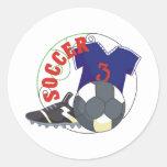Regalo del fútbol de los niños pegatina redonda