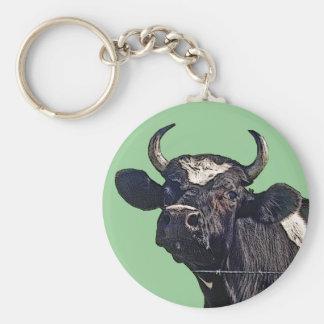 Regalo del ganado de Holstein Llavero Redondo Tipo Pin
