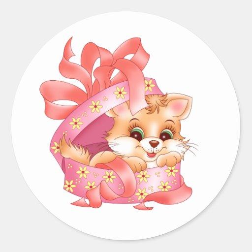 Regalo del gatito pegatina redonda