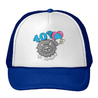 Regalo del gato de 40 cumpleaños gorros bordados