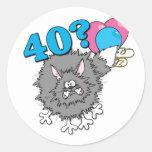 Regalo del gato de 40 cumpleaños pegatina redonda