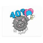 Regalo del gato de 40 cumpleaños postal