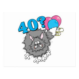 Regalo del gato de 40 cumpleaños postales