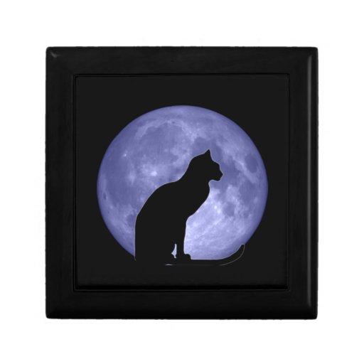 Regalo del gato negro, de la luna azul y joyero de caja de joyas