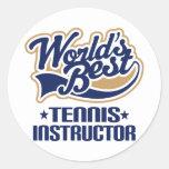 Regalo del instructor del tenis etiquetas redondas