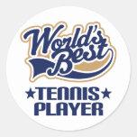 Regalo del jugador de tenis pegatina redonda