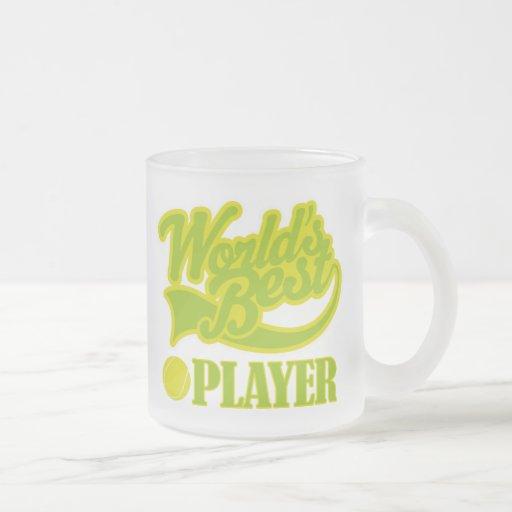 Regalo del jugador de tenis taza