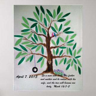 Regalo del libro de visitas del árbol del boda posters