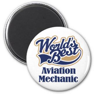 Regalo del mecánico de la aviación imán redondo 5 cm