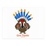 Regalo del menorah del pavo de Thanksanukkah Thank Tarjetas Postales