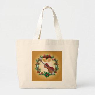 Regalo del músico de la guirnalda del navidad de l bolsa tela grande