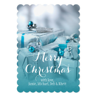 """Regalo del navidad con plata y Blue Ribbon Invitación 5"""" X 7"""""""
