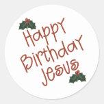 Regalo del navidad de Jesús del feliz cumpleaños Pegatina Redonda