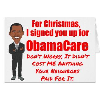 Regalo del navidad de ObamaCare Tarjeta De Felicitación