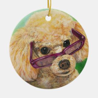 Regalo del navidad del ornamento del caniche del adorno