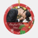 Regalo del navidad del par del boda del Poinsettia Ornamentos Para Reyes Magos