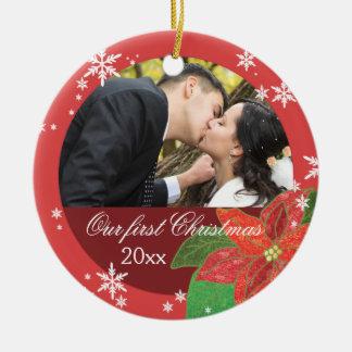 Regalo del navidad del par del boda del Poinsettia Adorno Redondo De Cerámica