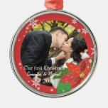 Regalo del navidad del par del boda del Poinsettia Adornos