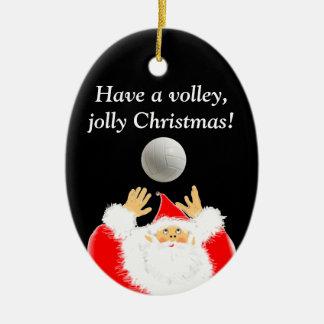regalo del navidad del voleibol adorno ovalado de cerámica