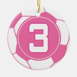 Regalo del número 3 del jugador de fútbol de los c ornamentos de navidad