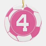 Regalo del número 4 del jugador de fútbol de los c adorno de navidad