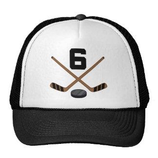 Regalo del número 6 del jersey del jugador del hoc gorros bordados