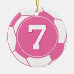 Regalo del número 7 del jugador de fútbol de los c adornos de navidad