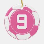 Regalo del número 9 del jugador de fútbol de los c adorno para reyes