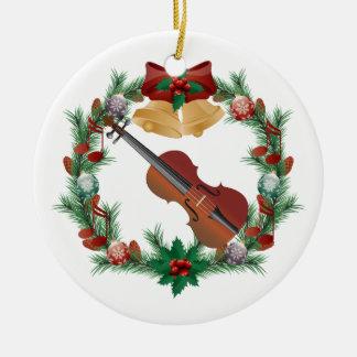 Regalo del ornamento de la música de la guirnalda adorno navideño redondo de cerámica