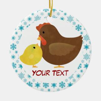Regalo del ornamento del navidad de la gallina y d ornamente de reyes