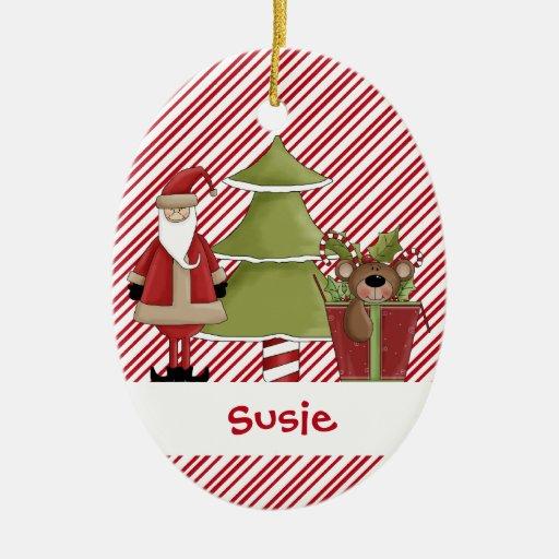 Regalo del oso de peluche del árbol de adorno navideño ovalado de cerámica