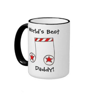 Regalo del papá del mundo de la nota musical de la tazas de café