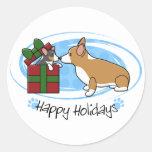Regalo del perrito del Corgi del navidad de Kawaii Etiqueta Redonda