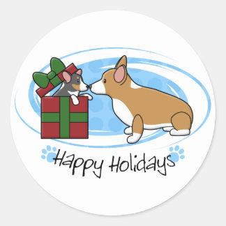 Regalo del perrito del Corgi del navidad de Kawaii Pegatina Redonda