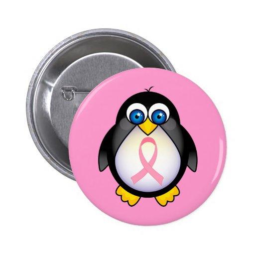 Regalo del pingüino de la cinta del rosa del cánce