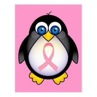 Regalo del pingüino de la cinta del rosa del cánce tarjeta postal
